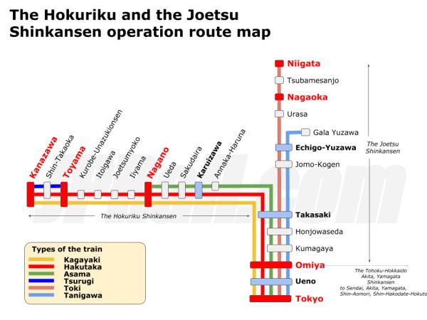 Hokuriku Joetsu Shinkansen operation route map