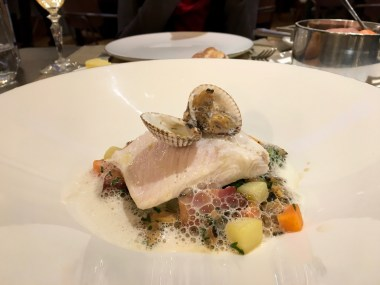 The poached sea bass at Galvin