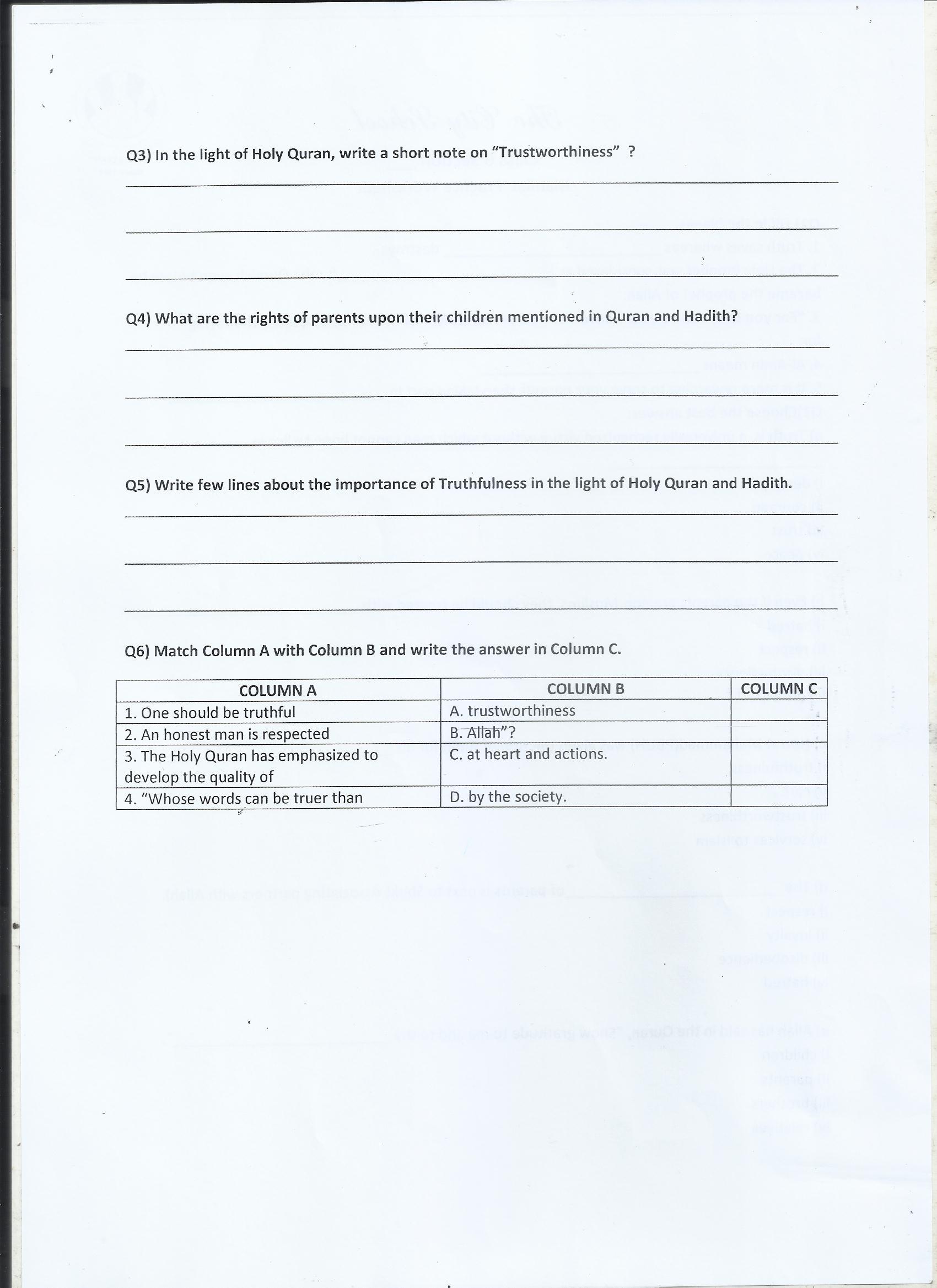 Class 6 Islamiat Practice Worksheets 18