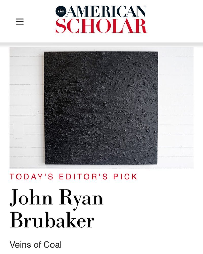 Thanks to 'The American Scholar' for talking to me about my recent work with coal on show at @gradientprojects. … LINK: https://theamericanscholar.org/john-ryan-brubaker/