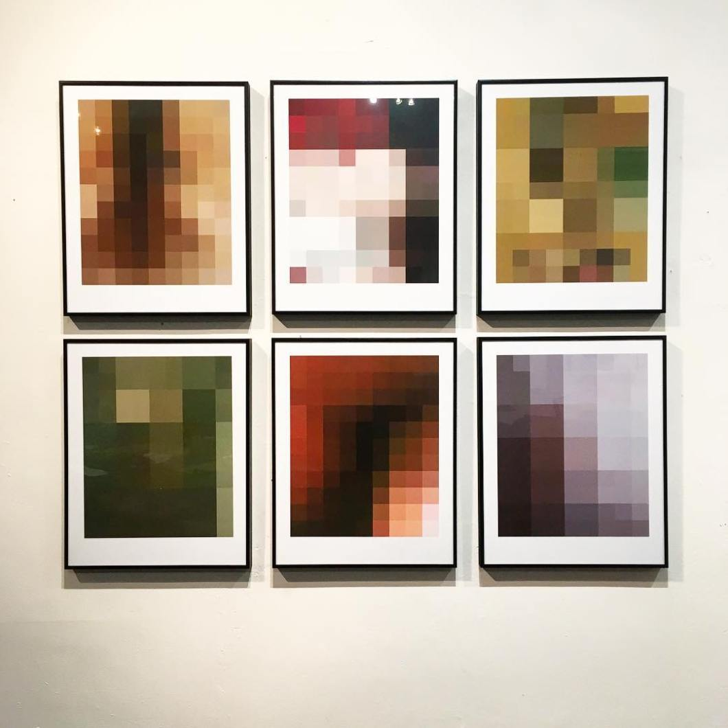 Found Abstracts, 2019 … In December 2018 Tumblr became the latest major social media platform to introduce a zero tolerance policy towards 'adult content'. Other major networks – Facebook, Instagram, etc. – have long removed content considered 'adult' despite it not respresenting sexual contact or pornographic material.  This has included female (but not male) nipples, breastfeeding and same-sex couples kissing.  The decision by Tumblr to remove these images and accompanying threads has led to the loss of long-established resources for communities that have used this platform to exchange imagery and stories about safe, consensual, sex-positive practices and lifestyles.  It has also reinforced the unbalanced treatment of physical bodies based on gender stereotypes and assumptions.  As digital media becomes the core platform for social communication our cultural expression is being controlled by unaccountable media conglomerates.  They are dictating what we are able to see and discuss, shaping our concepts of what is considered dirty, shameful or unacceptable in society. The images in this series are enlarged crops of images found on a variety of digital platforms.  The original images include nude human bodies, kissing consensual adults and breast-feeding mothers, but no sexual activity of any kind.