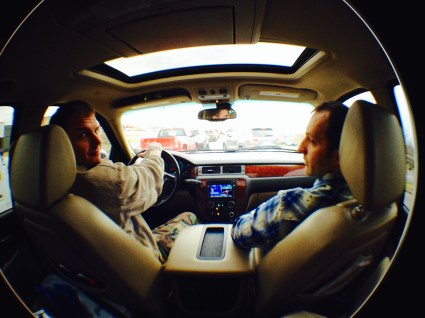 Can and Greg on our way to the Buffalo River, Arkansas.