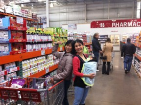 In Costco with Mum and baby E
