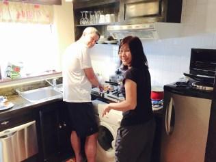 Mum and Dad preparing dinner