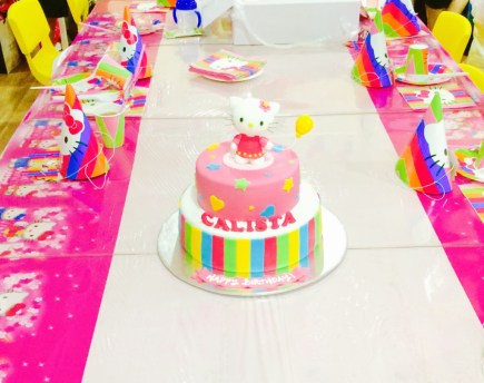 The very rich chocolate fudge cake concealed in pretty colours and topped with an irresistibly adorable Hello Kitty!