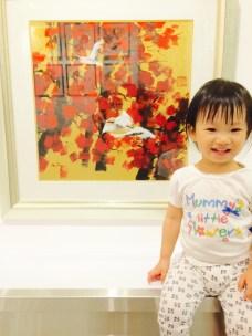 Little E in an art gallery