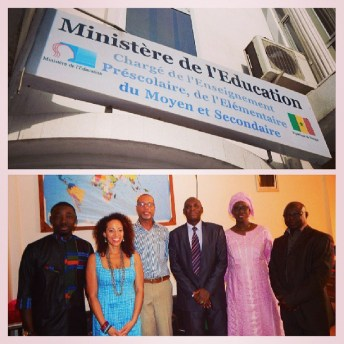 Jacqueline Cofield and Ibrahima Ndour, Director at the Senegal Minister of Education, along with his staff and members of Give1Project Senegal.