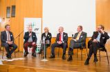 Praxis-Podium. V.l.n.r.: Bigge, Paul, Zander-Hayat, Schlipköther, Schröder, Klinkenberg