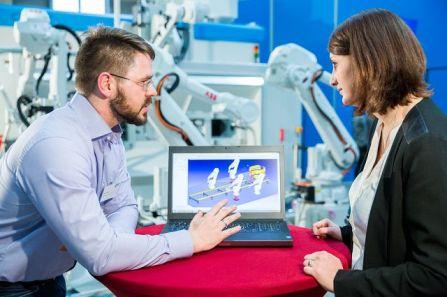 Simulationsmethoden zur Planung und Steuerung von Industrierobotern führt die carat robotic innovation GmbH vor. Foto: RIF - Alex Muchnik