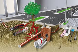 Kanäle, Wasser, Gas, Fernwärme, Verkehr: Unter der Erde liegen Infrastrukturnetze im Billionen-Wert. (Foto: IKT)