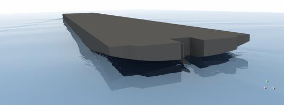 In der Simulation deutet das schwach ausgebildete Wellenbild am Heck des Rumpfes auf eine effiziente, energiesparende Gestaltung des Schiffskörpers hin. Bildquelle: DST