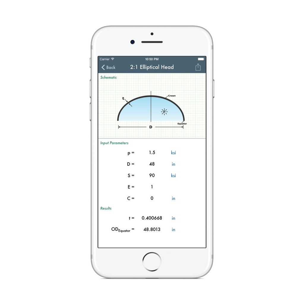 app screen shot of integrated ASME pressure vessel head calculation on iOS (iPhone, iPad) device