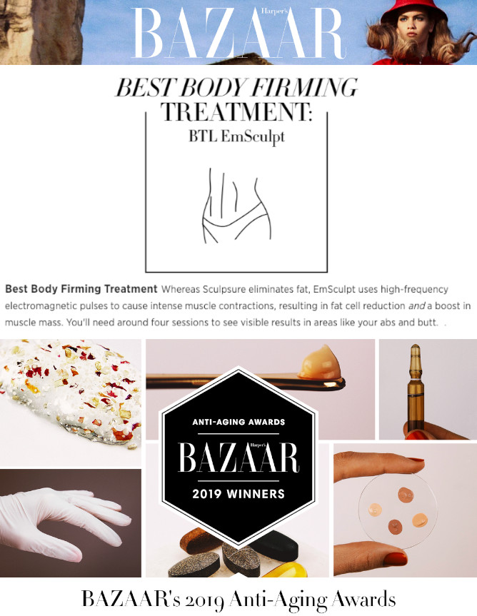 emsculpt as best anti aging treatment awarded by harper's bazaar
