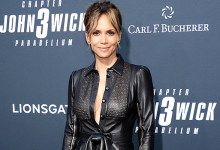 Halle Berry Rocks Bikini Bottoms & Tied Up Chop Top In Blooming Contemporary Photo