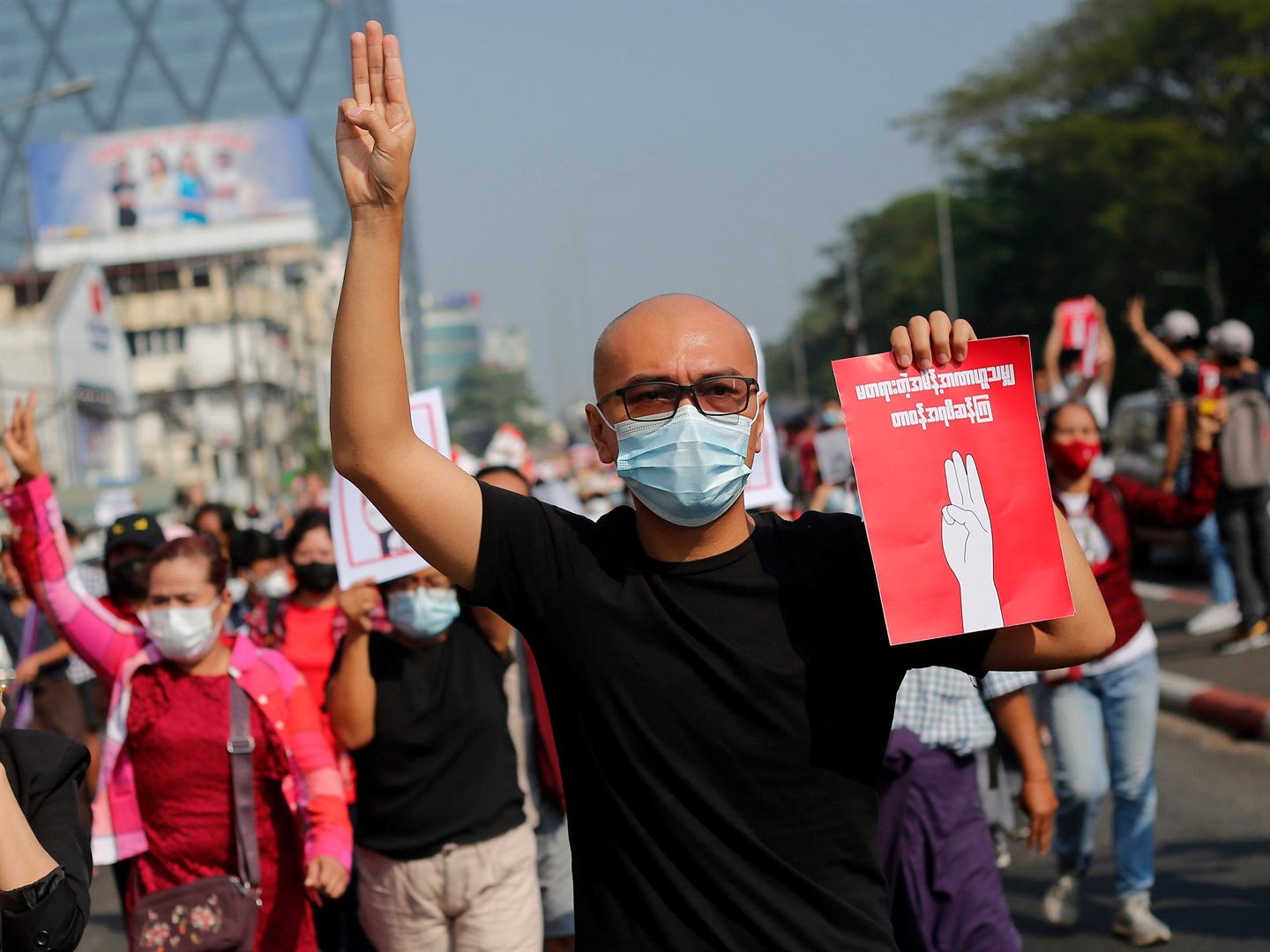 News24.com | Myanmar protesters rally after overnight raids on opposition figures