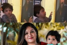 Late Chiranjeevi Sarja's son, Jr. Chiru cannot get enough of his dad's photo and it will leave you emotional – watch video