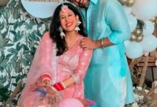 Kishwer Merchant looks resplendent in a pink lehenga for her baby shower; Suyyash Rai showers her with love – view pics