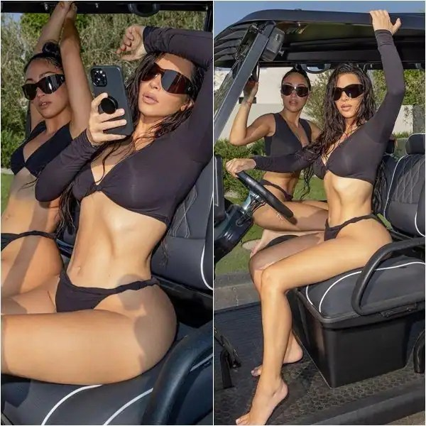 Kim Kardashian flaunts her hot voluptuous curves in a thong on a golf cart – view pics