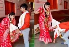 Couple Goals! Groom takes aashirwaad from bride at wedding, netizens applaud couple