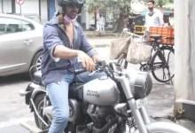 Kartik Aaryan cruising into Mehboob Studio on his Bullet is every biker during Mumbai's torrential downpours – view pics