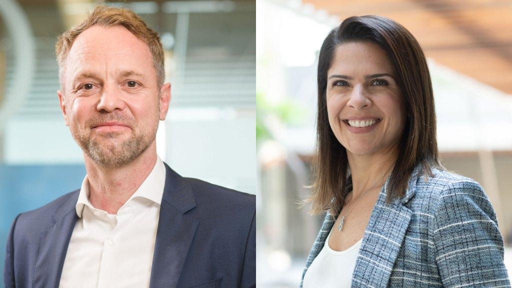 Matthias Kuehn, diretor de Saúde; e Karine Barros, diretora executiva de Negócios Corporativos e Saúde da Allianz / Divulgação