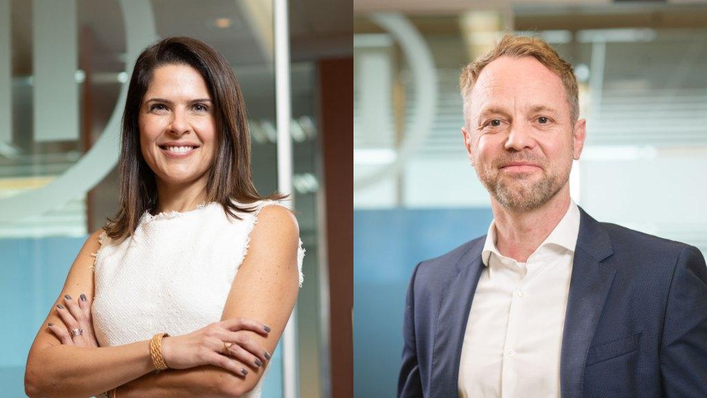 Karine Barros é diretora executiva de Negócios Corporativos e Saúde da Allianz Seguros; e Matthias Kuehn é diretor da Allianz Saúde / Divulgação