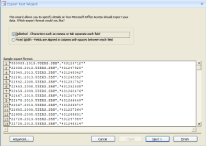 Access: Export Delimited