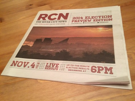 My cover photo of sunrise over Covington and Newport graced the Nov 4 edition of The River City News.