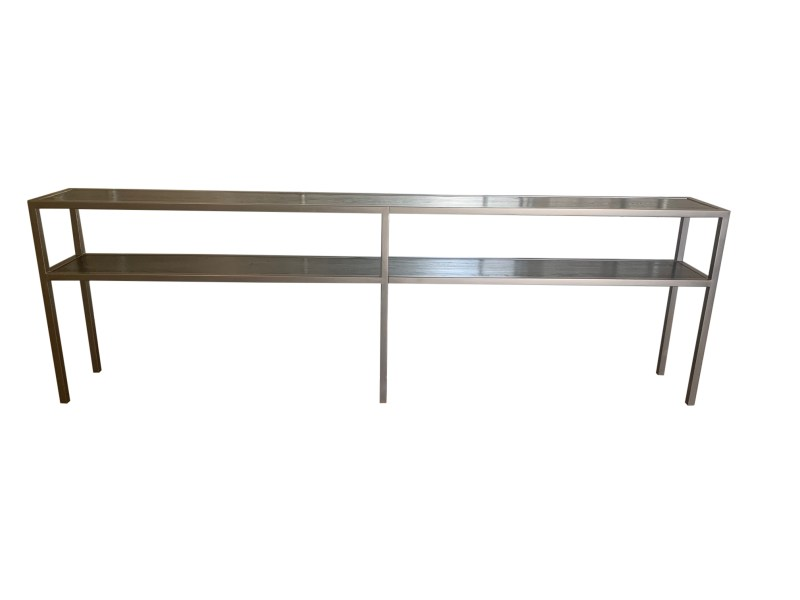 Front View 12 Foot Iron Console with Rift Oak Shelves