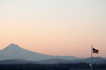 The west face of Mount Hood, as seen from downtown Portland on an early Saturday morning in June 2015.