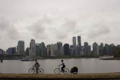 The Vancouver skyline, as seen from Stanley Park in Vancouver.