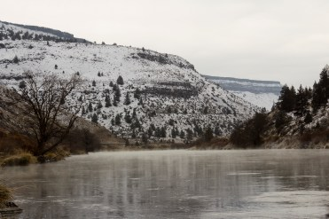 Steam rises from Lake Simtustus, near Warm Springs, Oregon, on a cold day.