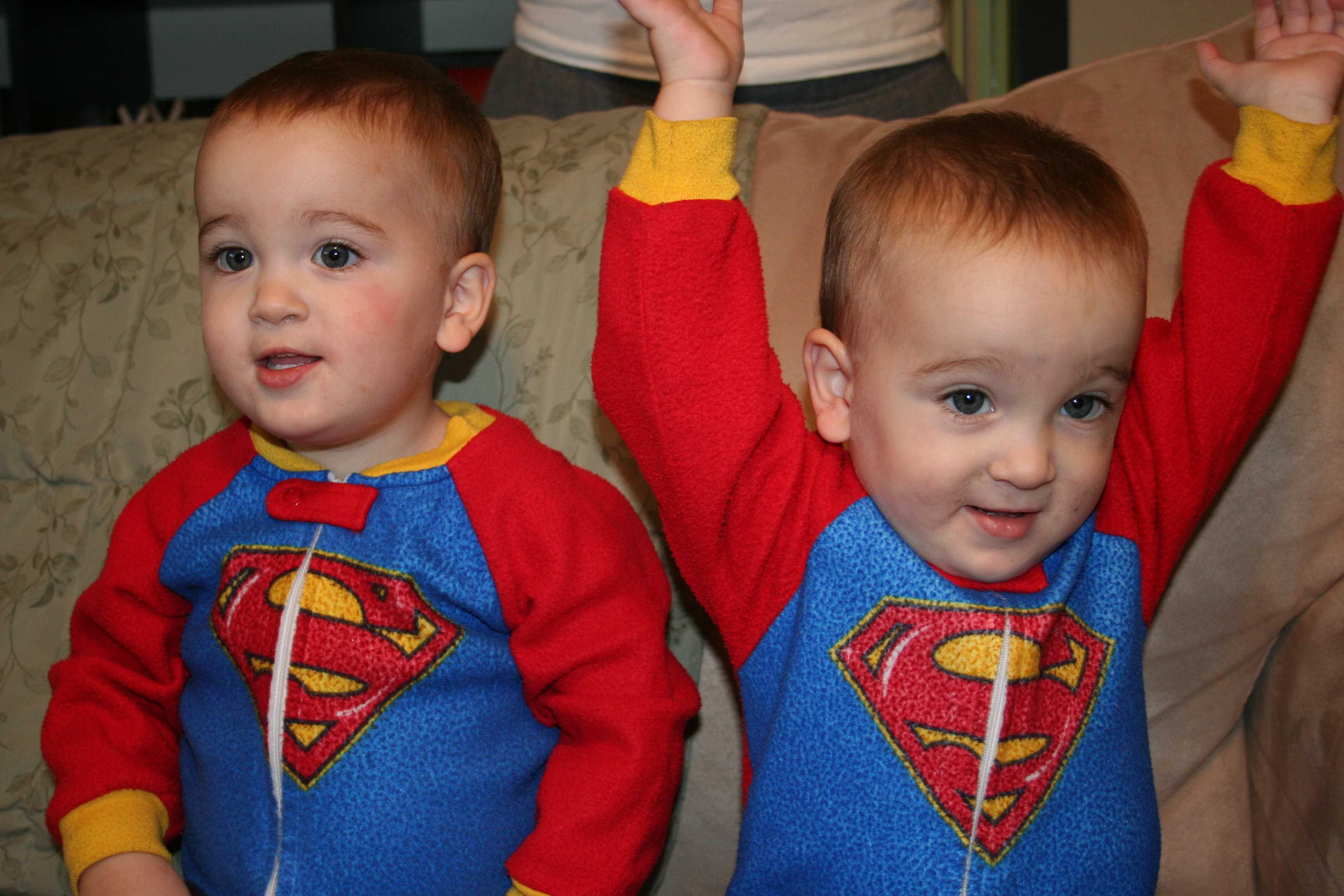 Noah and Ethan Whitehead in Superman jammies!