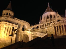 Fisherman's Bastion seen at night from below.