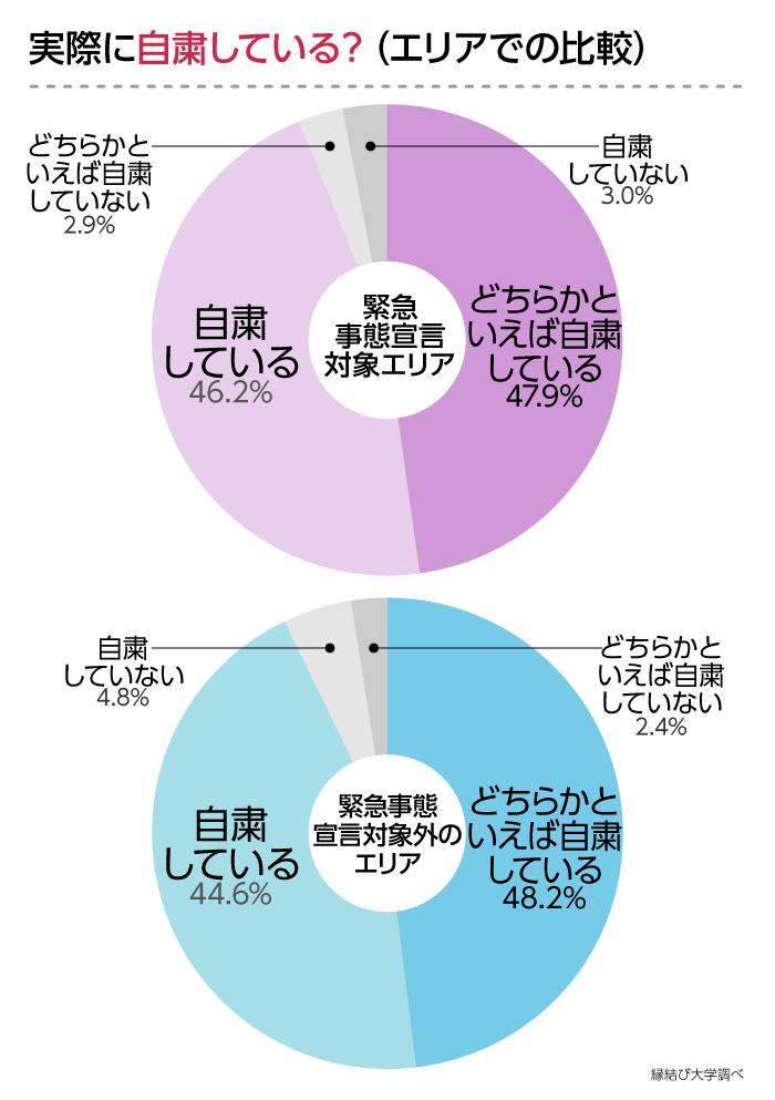 エリア別で比較した自粛状況のグラフ