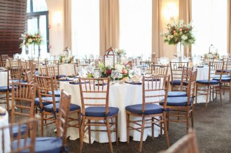 Indoor wedding reception room setup