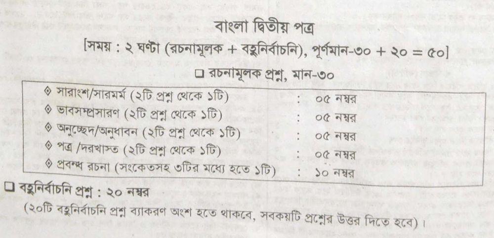 JSC Bangla 2nd Paper Marks Distribution