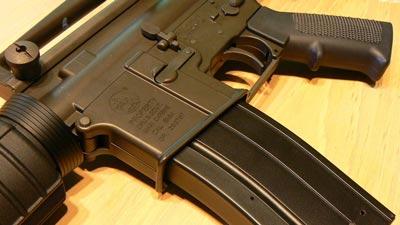 AR-15 carbine rifle trigger and magazine up close