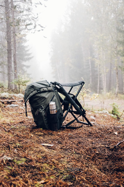 hunting backpack in the woods
