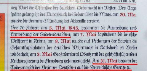 """""""Expulsion et assassinat des Allemands des Sudètes"""" et """"marches de la mort des Allemands de Brünn"""""""