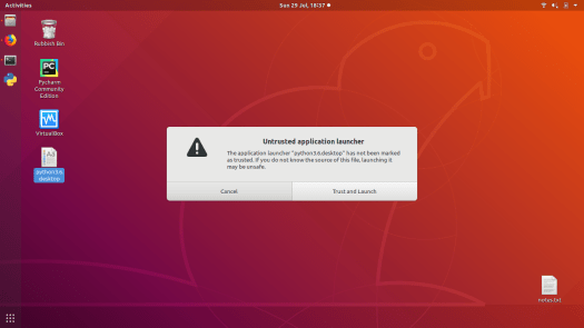 ubuntu desktop 18.04 launch application