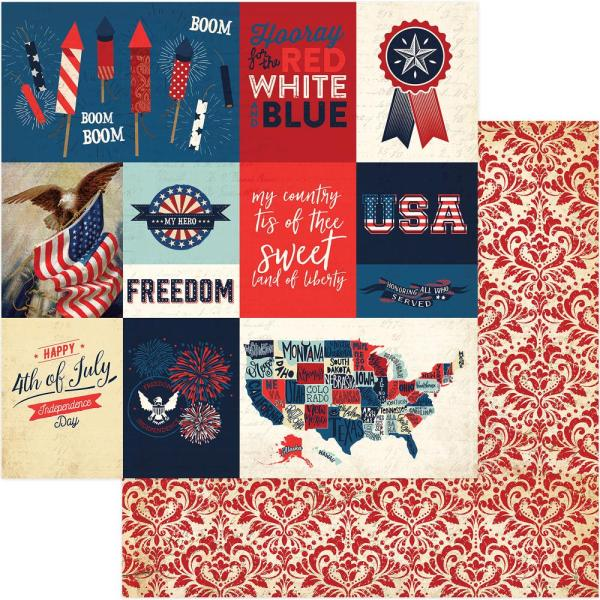 Photo Play Rockets Red Glare Red White & Blue Double Sided Sheet