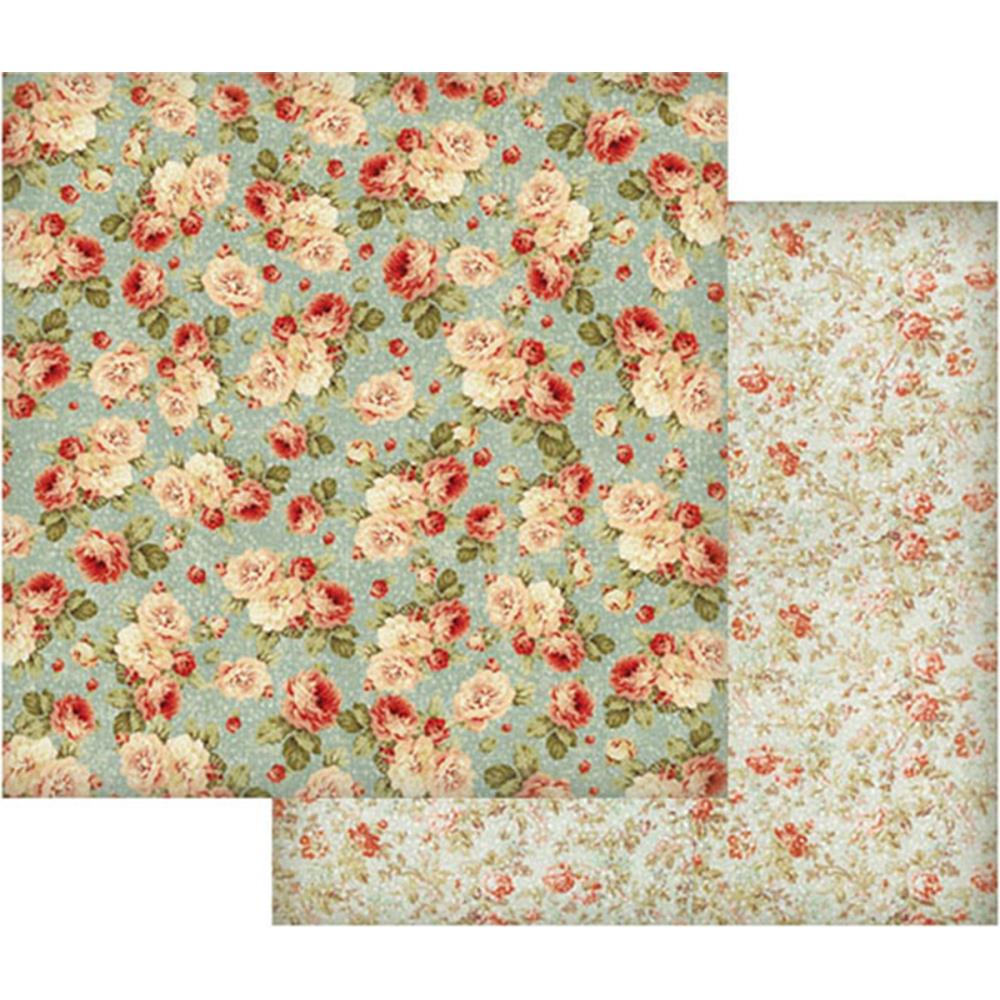Stamperia 12x12 Single Sheet Floral Wallpaper On Turquoise Background Sbb419 Scrapbooking And Paper Crafts J S Hobbies And Crafts