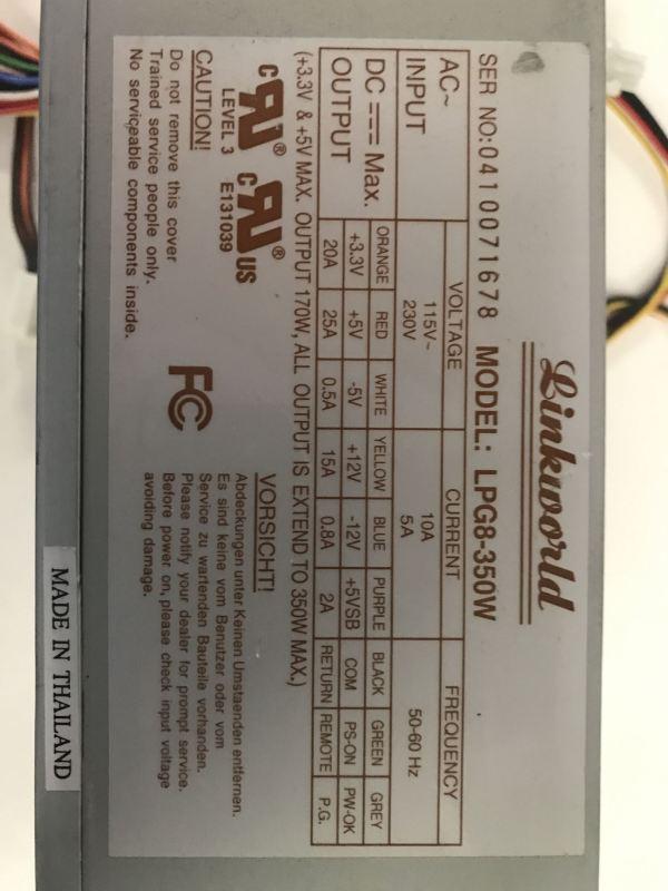 Linkworld LPG8-350W Power Supply.