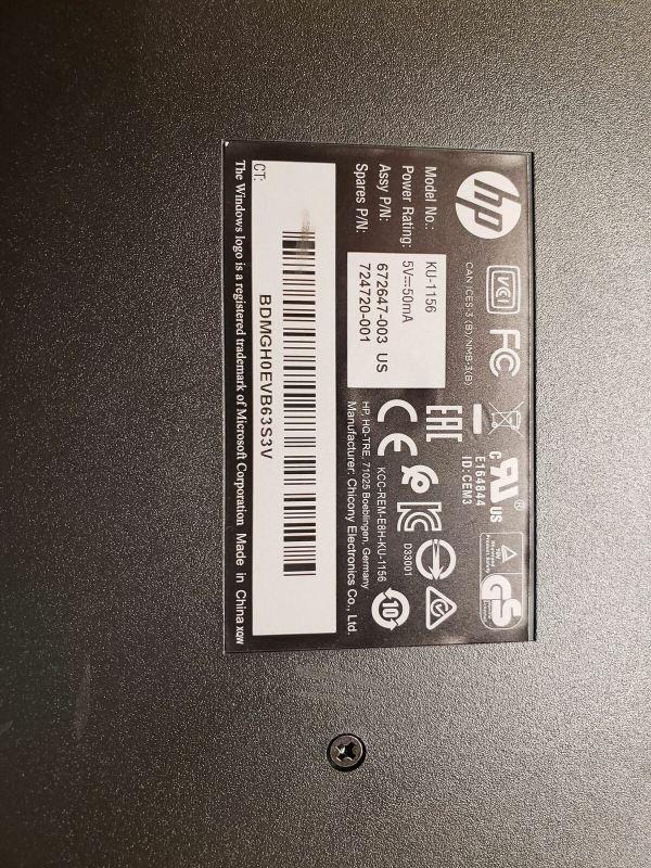 Lot of 10 HP black keyboard Model / Part # 672647-003, KU-1156