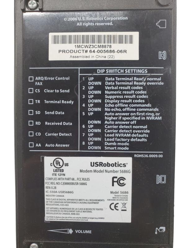 USRobotics 56k Faxmodem 5686G with Power Supply