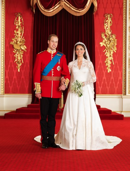 The Royal Wedding at Buckingham Palace on 29th April 2011: The Bride and Groom, TRH The Duke and Duchess of Cambridge in the Throne Room. Picture Credit: Photograph by Hugo Burnand