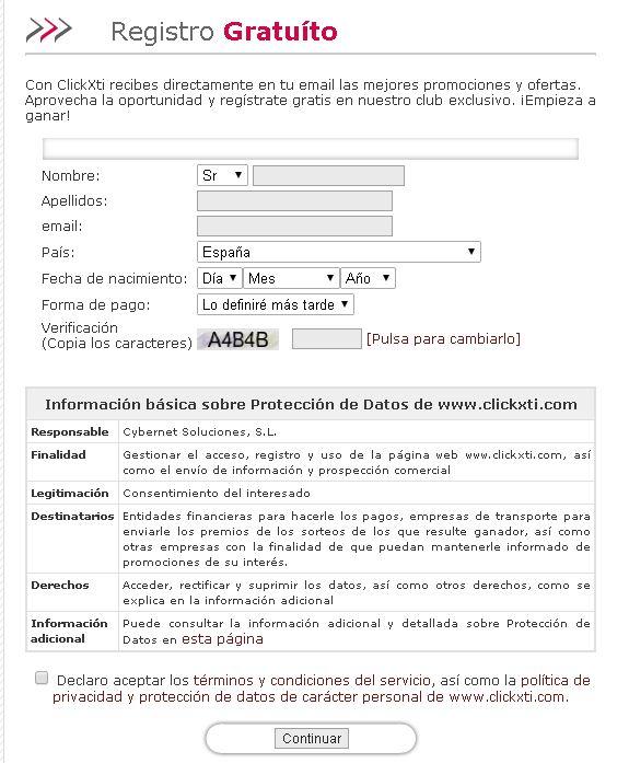 Clickxti Formulario de registro