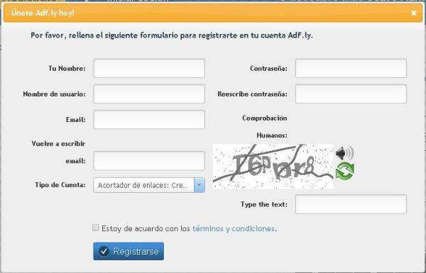Adfly Formulario de registro
