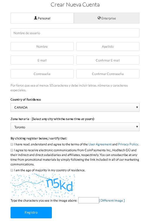 CoinPayments Formulario de registro